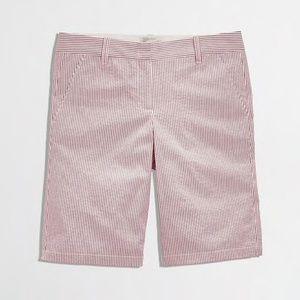 J. Crew Pink and White Seersucker Bermuda Shorts